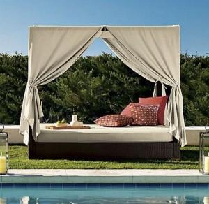 20-pat din lemn cu baldachin decor gradina sau piscina