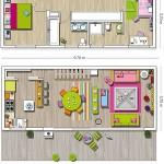 20-schita plan casa decorata in culori vesele parter si etaj