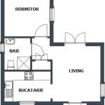 20-schita plan casa mica 40 mp cu living baie bucatarie si dormitor