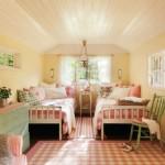 21-dormitor rustic scandinav pentru fetite decorat in alb si roz