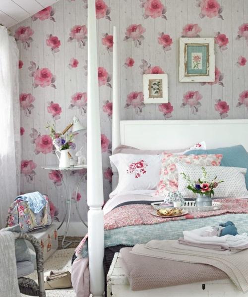 3-Amenajare dormitor decorat cu imprimeu floral