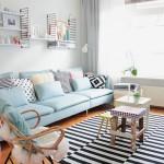 3-accente bleu in decorul unui living modern de inspiratie scandinava