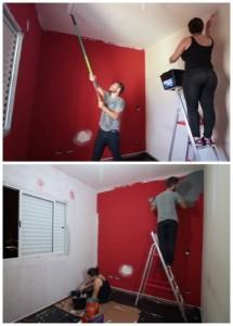 3-aplicarea vopselei lavabile si a tencuielii decorative amenajare dormitor bloc
