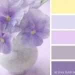 3-asortare tonuri de lila violet si galben pastel