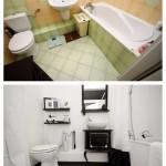 3-baie inainte si dupa vopsirea gresie si faiantei cu vopsea speciala