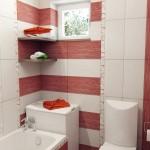 3-baie mica apartament decorata cu gresie si faianta combinatie alb cu rosu