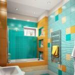 3-baie moderna finisata in albastru turcoaz alb si galben