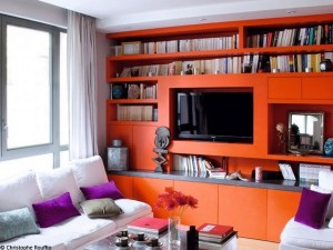 3-biblioteca portocalie decor living mic
