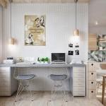 3-birou modern amenajat in dormitorul open space apartament 2 camere