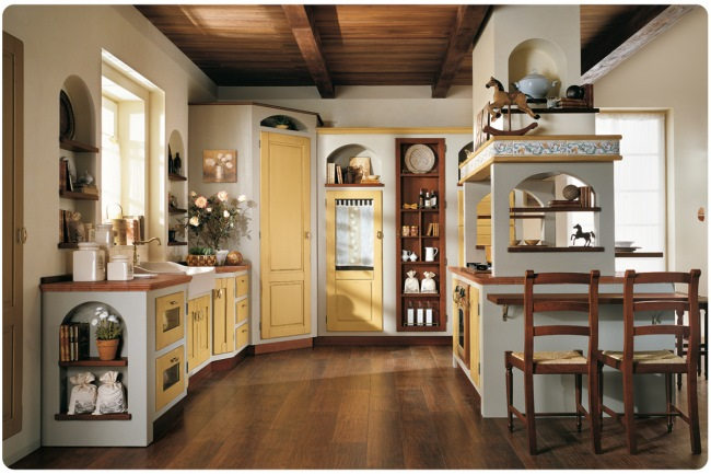 3-bucatarie inzidita stil clasic alb galben maro