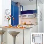 3-bucatarie mica de 6 mp cu mobila in alb si albastru proiectata pe 3 laturi