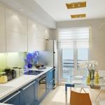 3-bucatarie moderna mobila albastru cu fag deschis si perete galben