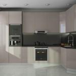 3-bucatarie moderna pe doua laturi cu mobila lucioasa culoare cappuccino