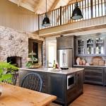 3-bucatarie rustica mobila din lemn masiv perete placat cu piatra naturala