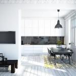 3-bucatarie si living moderne cu pereti dusumea si mobilier albe