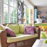 3-canapea din rattan cu pernute vernil decor living colorat
