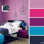 3-combinatii de violet ciclam albastru si negru decor dormitor