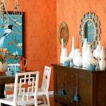 3-decor elegant compus din portocaliu alb si turcoaz