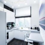 3-design bucatarie mica apartament masa tip bar si mobila alba