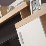 3-detaliu biblioteca living taurus design modern culoare alb si stejar sonoma dedeman