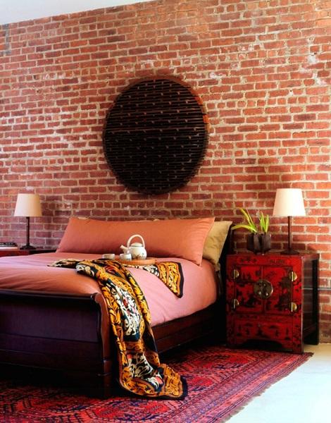 3-dormitor eclectic perete imitatie caramida