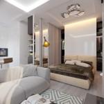 3-dormitor garsoniera 36 mp cu dressing in spatele patului