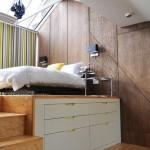 3-dormitor modern cu pat montat pe platforma inaltata cu spatiu depozitare dedesubt