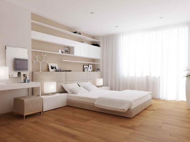 3-dormitor modern decorat in alb crem si bej