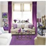 3-draperii si covor violet in amenajarea unui living modern