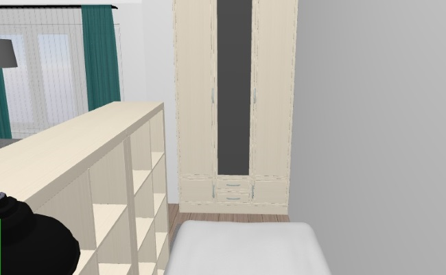 3-dulap de haine in zona de dormit a camerei din garsoniera