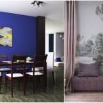 3-exemplu accentuare perete decor modern cu fototapet si vopsea lavabila