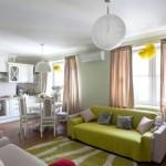 3-exemplu amenajare bucatarie si living open space apartament cu accente vernil