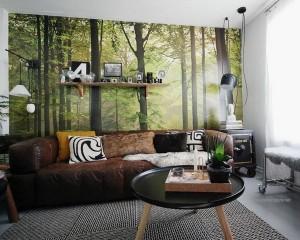 3-foto tapet padure verde decor living