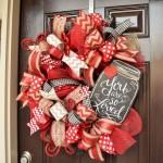 3-ghirlanda coronita decor de Valentines Day pentru usa de intrare in casa