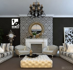 3-interior living amenajat in stil clasic decor alb negru
