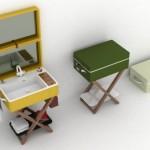 3-lavoar baie cu suport in interiorul unei valiza design olympia