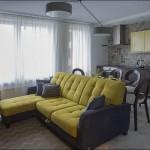 3-living cu bucatarie open space cu accente galben mustar