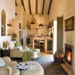 3-living cu semineu si bucatarie open space casa rustica 50 mp
