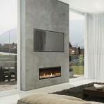 3-living minimalist cu televizor si semineu pe acelasi perete