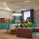 3-living modern decorat in alb turcoaz maro si vernil