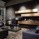 3-living modern decorat si finisat in negru si gri inchis
