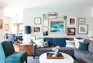3-living modern eclectic amenajat si decorat in alb gri albastru si maro