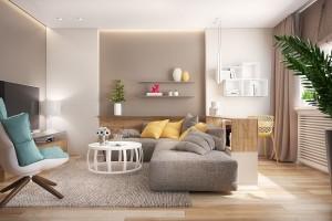 3-living modern finisat in alb gri si bej cu accente galbene si bleu