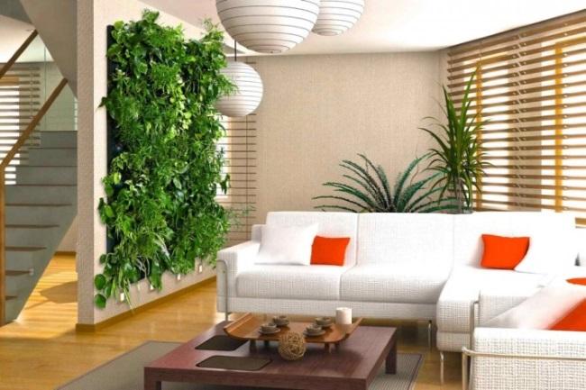 3-living modern minimalist cu un perete decorat cu plante verzi