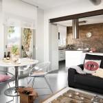 3-living si bucatarie open space apartament modern cu accente industriale