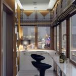 3-loc de luat masa tip bar amenajat intr-un balcon lung si ingust