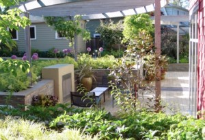 3-loc de relaxare sub o pergola din curtea casei