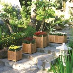 3-masti ghivece din lemn decor trepte gradina