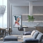 3-mobila bucatarie gri cu suprafata ce imita betonul slefuit
