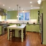 3-mobila de bucatarie verde olive asortata cu blat negru